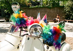 Rainbow Boa (Georgie_grrl) Tags: toronto ontario love community vespa friendship scooter pride celebration event pentaxk1000 colourful featherboa sidecar accessory lgbtq rikenon12828mm faaaaabulous torontopride2016