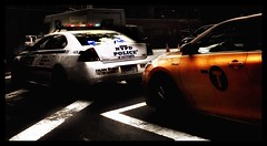 NYPD Blue v Yellow. (oxford_don1a) Tags: new york city nyc light red urban black color colour silhouette dark lights shadows shade emergency drama