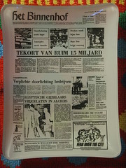 FRONTPAGE ashtray (5) (streamer020nl) Tags: glass movie newspaper 1975 ashtray frontpage glas binnenhof krant shortage economie asbak tekort 260975 fearoverthecity