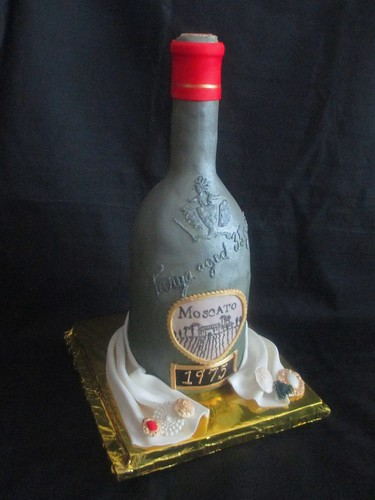 Wine Bottle Moscato Fondant Carved Cake