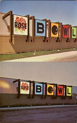 "Rose Bowl Bowling Alley, ""A Sign of Plexiglas is a Sign of Distinction"" (SwellMap) Tags: road signs monument public sign vintage advertising design 60s highway gate arch fifties message postcard suburbia entrance style kitsch retro billboard route nostalgia chrome freeway gateway billboards americana 50s lettering welcome roadside populuxe sixties babyboomer consumer coldwar midcentury spaceage atomicage archwaypc"