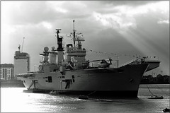 R06 HMS Illustrious (PaulHP) Tags: sun white storm black london monochrome thames clouds river anniversary greenwich navy royal battle atlantic boa rays 70th illustrious rn hms r06