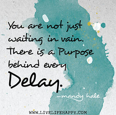 You are not just waiting in vain. There is a purpose behind every delay. (deeplifequotes) Tags: is delay waiting you just every there behind purpose vain