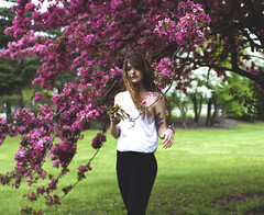 ____________ (lauren s_) Tags: pink flowers selfportrait tree nature girl canon hair outdoors spring pretty purple accident 28mm squarecrop selftimer