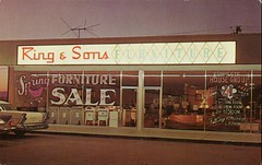 "Ring & Sons Furniture, ""A Sign of Plexiglas is a Sign of Distinction"" (SwellMap) Tags: road signs monument public sign vintage advertising design 60s highway gate arch fifties message postcard suburbia entrance style kitsch retro billboard route nostalgia chrome freeway gateway billboards americana 50s lettering welcome roadside populuxe sixties babyboomer consumer coldwar midcentury spaceage atomicage archwaypc"