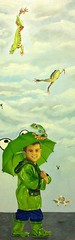 Raining Frogs (Azu Hernandez) Tags: umbrella children frogs raining rainboots