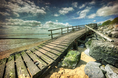 Only one way out (Paul Merry) Tags: old sea summer texture beach sunshine thames out eos wooden seaside rocks sandy tide steps estuary walkway british essex southend shoeburyness muddy hdr rickety canon5dmk2