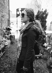 Anya (Michael Holst Photography) Tags: light portrait blackandwhite bw white black girl beautiful sunglasses wisconsin scarf canon photography michael dof natural bokeh coat milwaukee shops mk2 5d shallow holst cedarburg 35l presets vsco michaelholstphotographycom