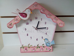 relogio casinha de passarinho (Imer atelie) Tags: flores brasil de rosa passarinho decora corderosa numeros pintura mdf casinha horas relogio passarinhos ponteiros feitoamo kitbebe imeratelie decoraoquartobebe