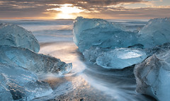 Morning At The Beach (Kristinn R.) Tags: sea sky sun ice sunrise blacksand iceland nikon waves lagoon jkulsrln d3x nikonphotography breiamerkursandur kristinnr