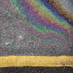 Oil Rainbow on Asphalt (Aref-Adib) Tags: yellow square squareformat asphalt yellowline roadmarking oilrainbow iphoneography instagramapp uploaded:by=instagram