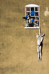 Day 2 - Banksy - Sunday Walk (Cris Ward) Tags: street city travel portrait people urban streetart stencils art tourism window vertical wall digital painting bristol graffiti stencil paint raw zoom sony wide kitlens banksy wideangle icon urbanart figure 1855mm alpha dslr amateur beginner thirds a450