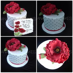 Poppy cake and cookie card (Anastasia's Cakes) Tags: birthday wedding red flower cake japanese paint capetown poppy dots piping whiteandblack gumpaste sugarpaste cookiecard