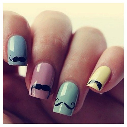 Mustache #nails #nailart #naildesign #manicure JOIN www.Fashionclimaxx.com & share your TALENT! #FOLLOW @fashionclimaxx3  for more @fashionclimaxx3