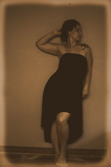 Self Portrait II (Hollingsworth Photography) Tags: selfportrait sepia female blackdress nikkors35mm