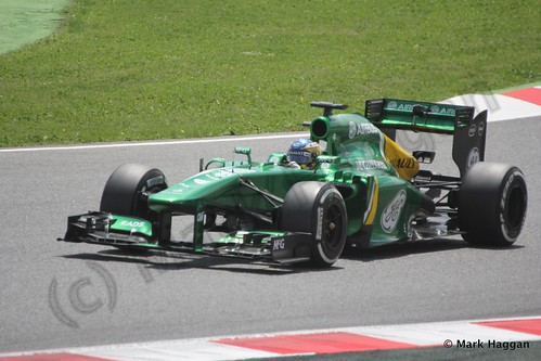 Charles Pic qualifying for the 2013 Spanish Grand Prix
