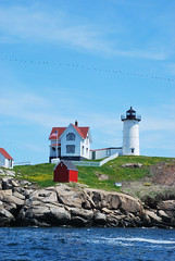 nubble (thisemily) Tags: ocean blue sky lighthouse beach island spring maine nubblelight flockofbirds nubble atouristinmyhometown