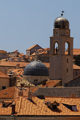 Dubrovnik Domes (Mercedes Noriega) Tags: old city roof orange man rooftop statue daylight ancient antique croatia tiles dome domes dubrovnik statie lpdome