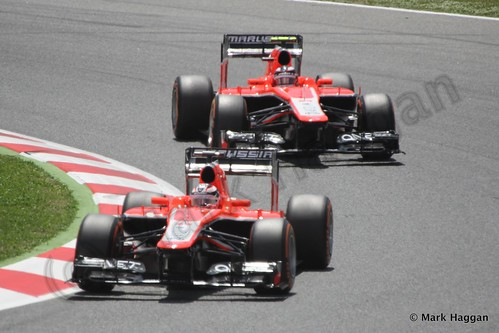 The Marussias of Chilton and Bianchi in the 2013 Spanish Grand Prix