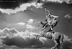 CALL TO ARMS (Des Hawley.) Tags: monochrome beautiful composite wales clouds gorgeous awesome perspective creative statues stunning breathtaking captivating powiscastle welshpool coth supershot superhearts deshawley