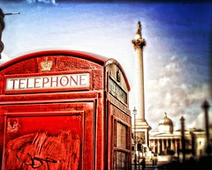 Trafalgar Square (hunter.paul) Tags: city red london square high dof dynamic telephone trafalgar nelson column range hdr phonebox