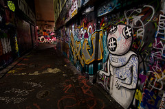 Diver Dan (jarrado) Tags: streetart graffiti movida melbourne lane laneway hosier rutledge