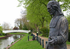 Izaak Walton statue in Victoria Park, Stafford (Tony Worrall Foto) Tags: uk england urban sculpture fish green art river outside outdoors victoriapark artist arty statues created made fisher writer publicart author celebrate own artworks stafford sculpt angler izaakwalton thecompleatangler 2013tonyworrall staffordsculptures