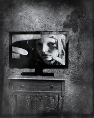 #204 (emifly) Tags: bw selfportrait tv trapped selfie