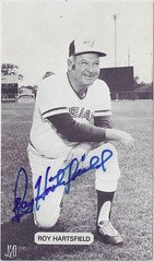 1979 J.D. McCarthy Toronto Blue Jays Postcard - Roy Hartsfield #7 / Manager (b: 25 Oct 1925 - d: 15 Jan 2011 at age 85) (Kneeling on right knee) - Autographed (WhiteRockPier) Tags: baseball postcard 1979 signed autographed torontobluejays jdmccarthy