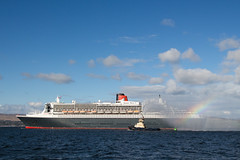 At the End of the Rainbow (Fraser Murdoch) Tags: from cruise ireland red 2 two dublin river clyde greenock boat big republic view you photos glasgow or mary hamilton rep large vessel eire estuary queen massive everyone bermuda gigantic cunard firth liner clydeport southhampton