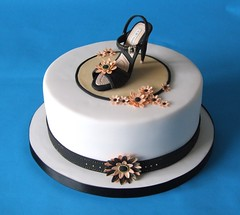 Shoe Birthday Cake (Alix'sCakes - away for a while) Tags: pink black cake shoe gold peach topper jimmychoo gumpaste alixscakes