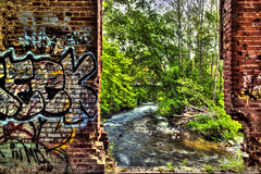room with a view, Savage style (dK.i photography (not diggin the new format)) Tags: brick entropy cool dangerous ruins grafitti open decay maryland drop flowing hdr blight dilapidated reclamation notrespassing savage fallingapart savagemill olors foudry middlepatuxentriver classictwist beforebloodymarys beforereggieshowedup