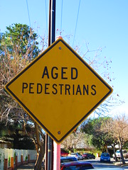 Older 'Aged Pedestrians' text warning sign (RS 1990) Tags: road old sign yellow warning traffic text august diamond pedestrians adelaide aged thursday southaustralia 15th 2013 lowermitcham