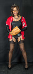 Pensive Pitcher! (kaceycd) Tags: stockings pumps highheels baseball tgirl bodysuit stilettoheels pantyhose crossdress spandex lycra tg leotard stilettos nylons garterbelt garters suspenderbelt ffstockings sexypumps stilettopumps rhtstockings