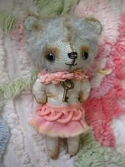 IMG_8331...Baby Blue mini teddy bear only 3 inches tall... (Lindy Dolldreams) Tags: bear vintage teddy miniture blythedoll