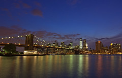 NYC @ Night (Delfin Abzueta) Tags: park nyc newyorkcity bridge parque light sunset usa newyork skyline brooklyn night canon dusk dumbo brooklynbridge reflejo delfin downunderthemanhattanbridgeoverpass canon60d tokinaaf1116mmf28 abzueta delfinabzueta