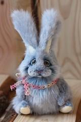 Happy Valentine (Yanina Link) Tags: sculpture rabbit bunny toys doll teddy ooak bleu ostern eastern hase kaninchen softsculpture ooakdoll bilibinobears
