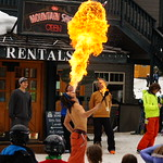 Apex Can Am event - this guy was performing in front of the lodge during the race! PHOTO CREDIT: Derek Trussler