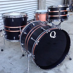 Not mad at building lots of duplicate kits these past few weeks. Especially when they look like this. Black satin stain over mahogany with brushed copper inlays. Oh and of course the copper plate snare behind it. #qdrumco #mahogany #copper #drums