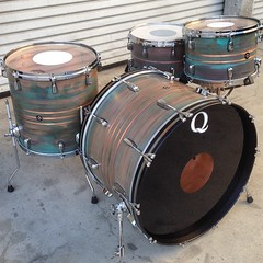 Copper drum set with a heavy patina and brushed copper stripes. Wish I could keep every set we make! #qdrumco #copper #patina