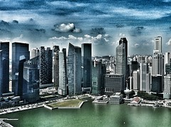 Singapore skyline (kriswoods2322) Tags: holiday green water asia