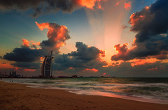 Colors of Nature (aamirmundia) Tags: new sunset sea 2 3 beach nature colors beautiful weather clouds canon spectacular photography photo amazing sand dubai mark tag uae scene arab blended 5d lovely hdr aamir ul mundia seaview digitally burj unseen exposures 2470 jumera mundiagraphy mydubai