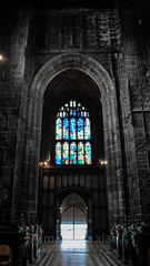 THE choice (marilenaxiari) Tags: door old uk flowers light england color colour church glass manchester photography photo arch cathedral unitedkingdom gothic arches stainedglass stgeorge stmary coloured tilefloor coloredglass stdenys gothicarchitecture gothicstyle