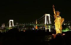 Tokyo 3-in-1 (Melian, Grey Wanderer) Tags: bridge tower japan liberty tokyo rainbow nightscape panasonic odaiba nightview mock statute tz2