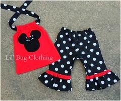 Minnie capri (Lil' Bug Clothing) Tags: red black mouse capri top minnie halter