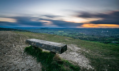 Leckhampton Hill Sunset (Russell Discombe) Tags: blue sunset england sky sun yellow bench nikon view sigma gloucestershire viewpoint cheltenham sigma1020mm leckhamptonhill leckhampton nikond3300 d3300