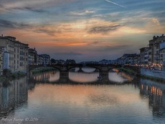 Sun down (Belinda Fewings (3 million views. Thank You)) Tags: street city bridge blue sunset sky urban italy orange colour water beautiful beauty reflections out outside outdoors reflecting evening florence seaside interesting italia arty sundown artistic bokeh creative may best depthoffield tuscany firenze create colourful lovely pontevecchio tuscan riverarno beautify pontevecchiobridge panasoniclumixdmc pbwa creativeartphotograhy belindafewings