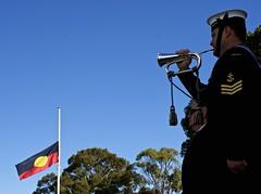 Salute to Aboriginal Soldiers (Padmacara) Tags: trees soldier navy australia perth kingspark bugle shadowlight aboriginalflag d7100 nikkor18140 indigenousveteranscommemorationservice
