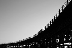 (cherco) Tags: city bridge sky blackandwhite metal composition canon puente alone chaos huelva human caos lonely solitary solitario composicion aloner