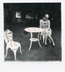 Grandma's Ghost Came for Tea (Britt Grimm) Tags: blackandwhite film vintage garden polaroid sad girly ghost emo instant isolation expired gardenparty teaparty expiredfilm instantphotography polaroidsx70 vintagedress instantfilm filmisnotdead partyofone impossibleproject